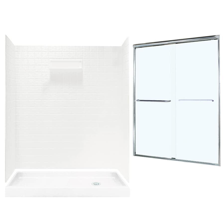 Swanstone Veritek White Fiberglass/Plastic Wall and Floor 5-Piece Alcove Shower Kit (Common: 60-in x 32-in; Actual: 71.625-in x 58.6875-in x 34.75-in)