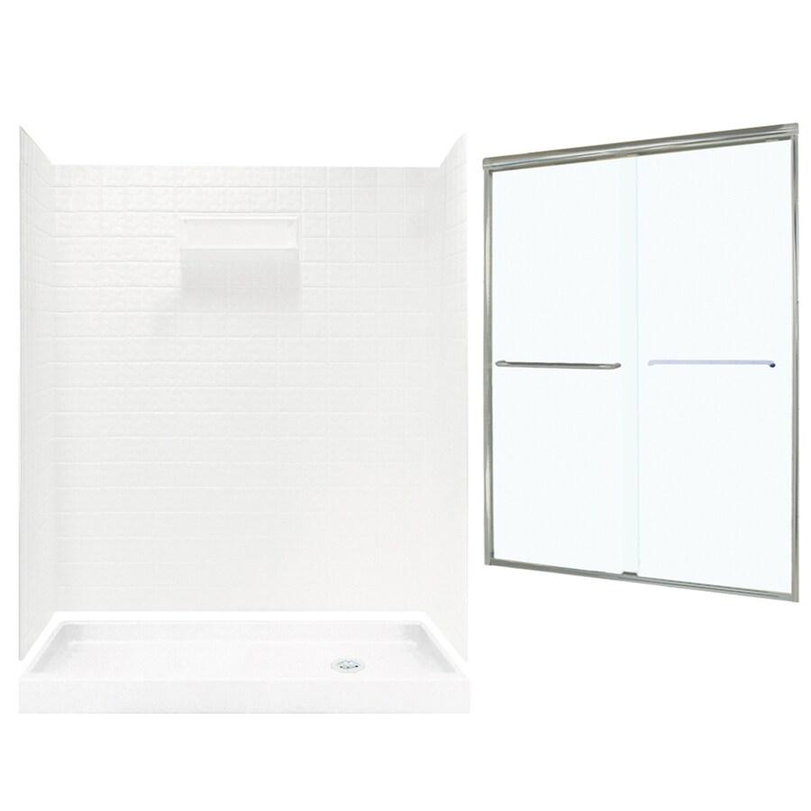 Shop Swanstone Veritek White Fiberglass/Plastic Wall and Floor 5 ...