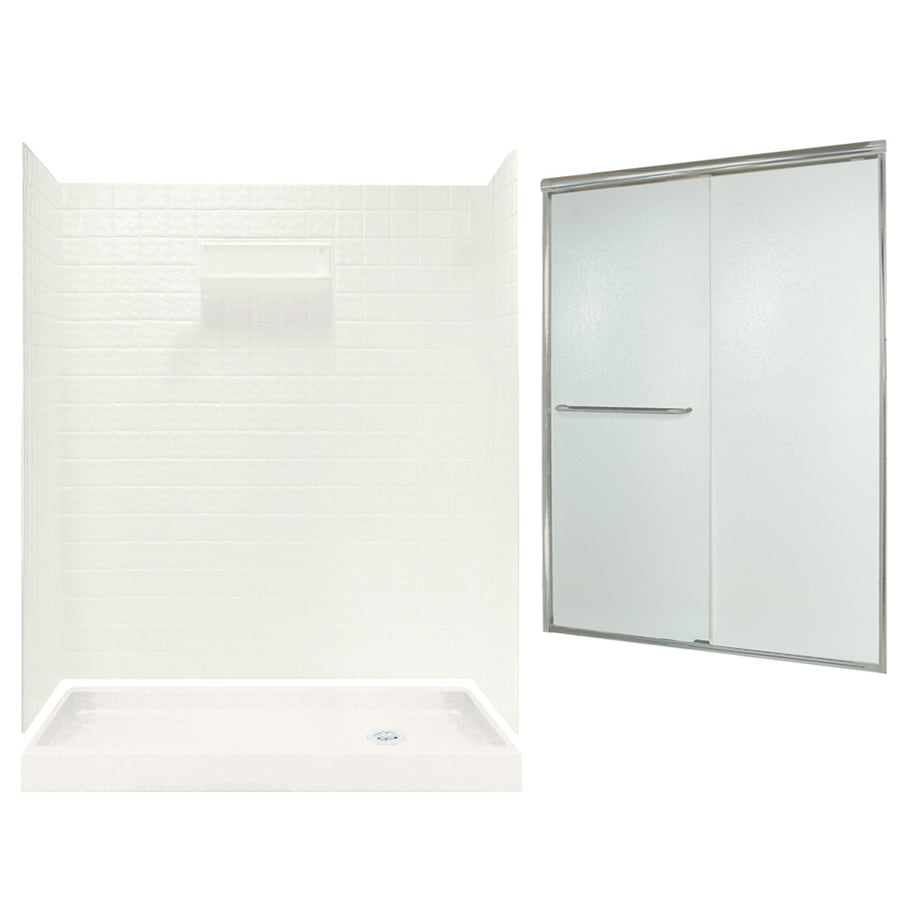 Swanstone Veritek Bisque Fiberglass/Plastic Wall and Floor 5-Piece Alcove Shower Kit (Common: 60-in x 32-in; Actual: 71.625-in x 58.6875-in x 34.75-in)