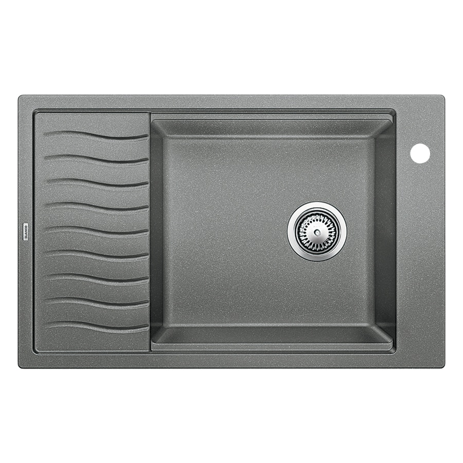 BLANCO Precis 19.6875-in x 30.6875-in Metallic Gray Single-Basin-Basin Granite Drop-in or Undermount 1-Hole Residential Kitchen Sink Drainboard Included