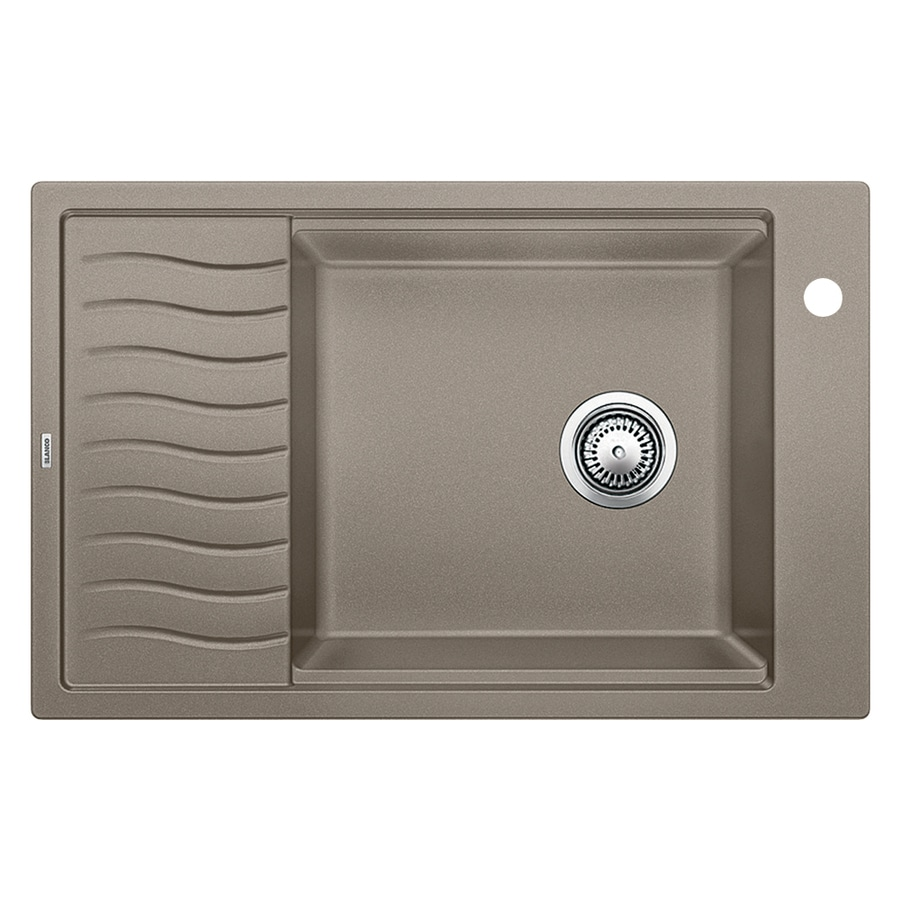 BLANCO Precis 19.6875-in x 30.6875-in Truffle Single-Basin Granite Drop-in or Undermount 1-Hole Residential Kitchen Sink Drainboard Included