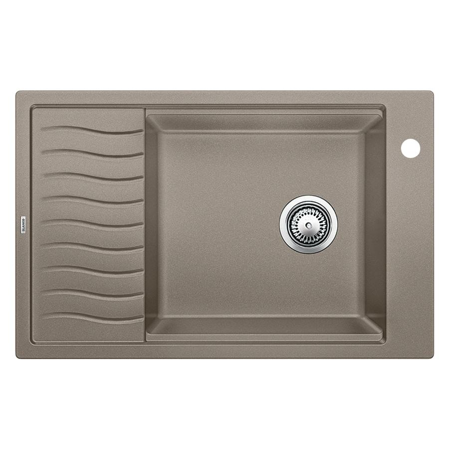 BLANCO Precis 19.6875-in x 30.6875-in Truffle Single-Basin-Basin Granite Drop-in or Undermount 1-Hole Residential Kitchen Sink Drainboard Included