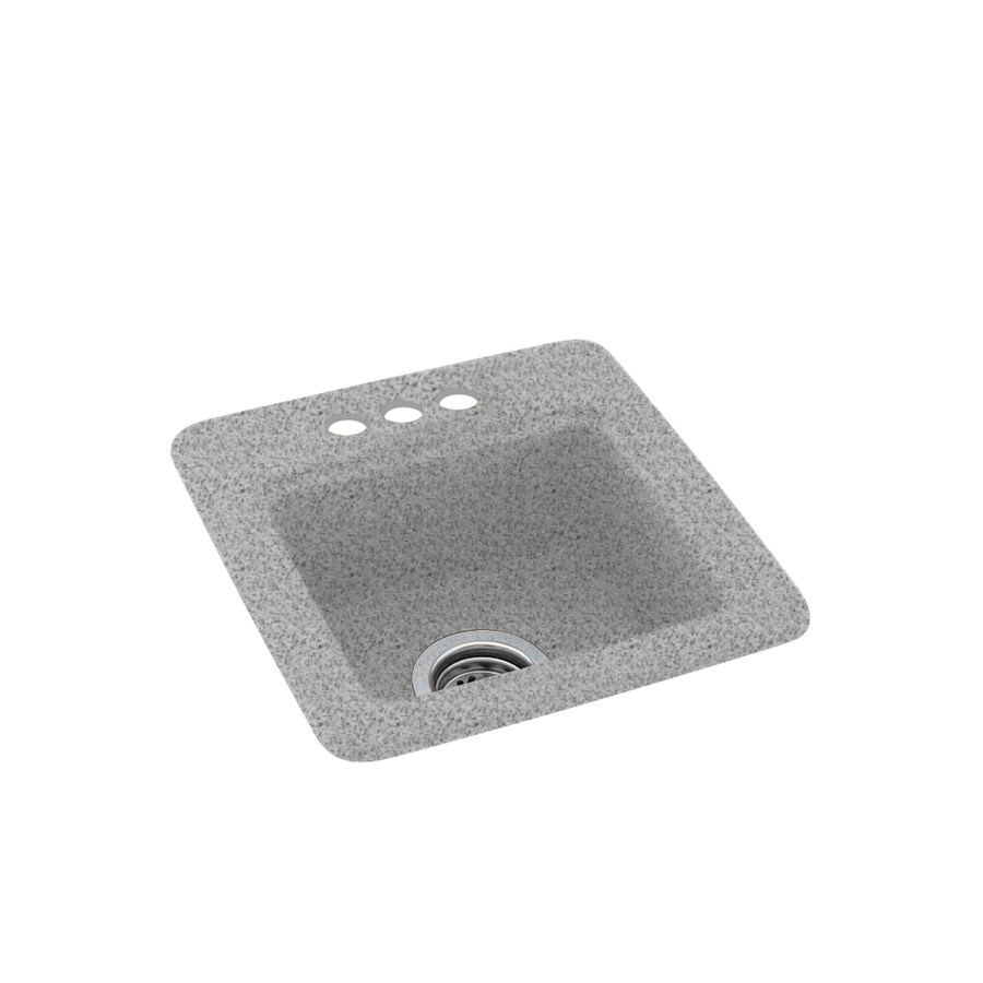 Swanstone Gray Granite 3-Hole Composite Drop-in Residential Bar Sink