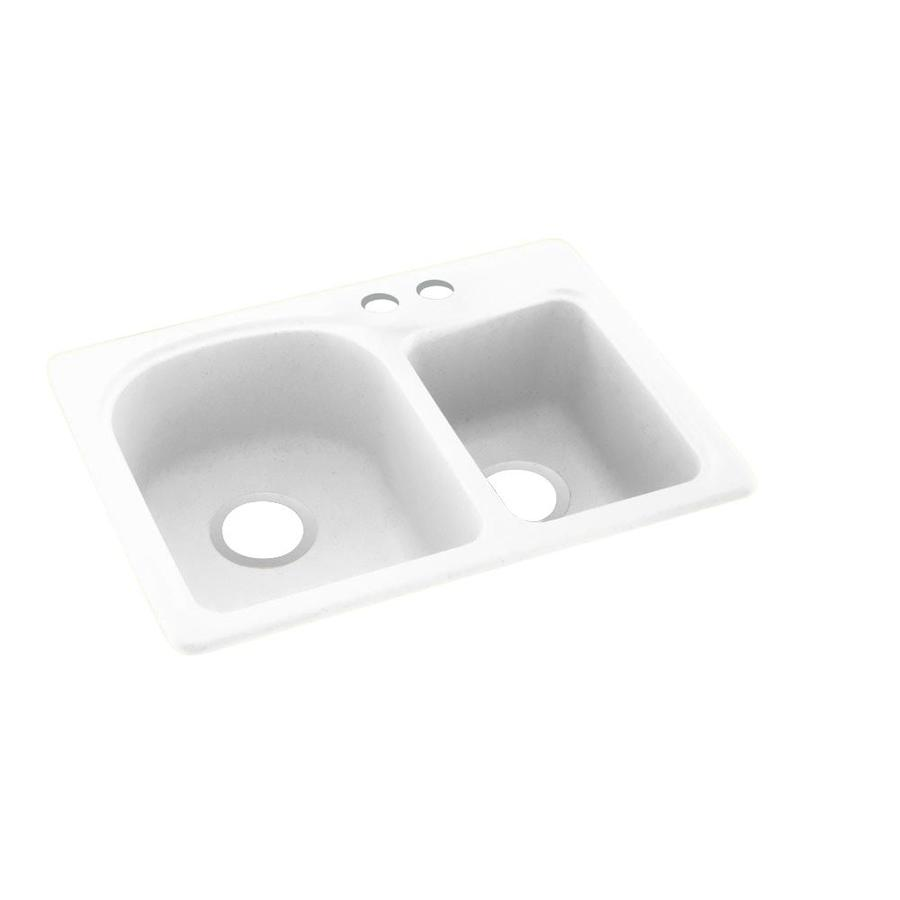 Swanstone 25-in x 18-in White Double-Basin Composite Drop-In 2-Hole Residential Kitchen Sink