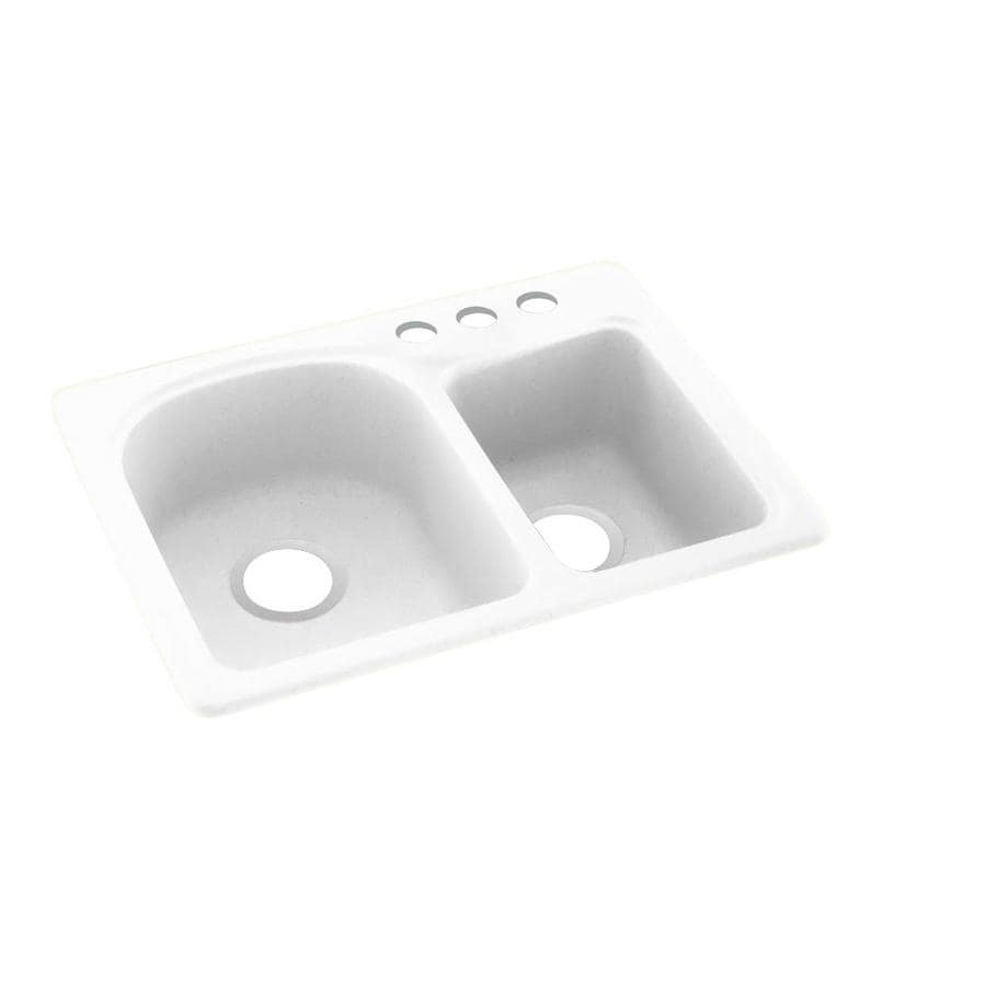 Swanstone 25.0000-in x 18.0000-in White Double-Basin Composite Drop-in 3-Hole Residential Kitchen Sink
