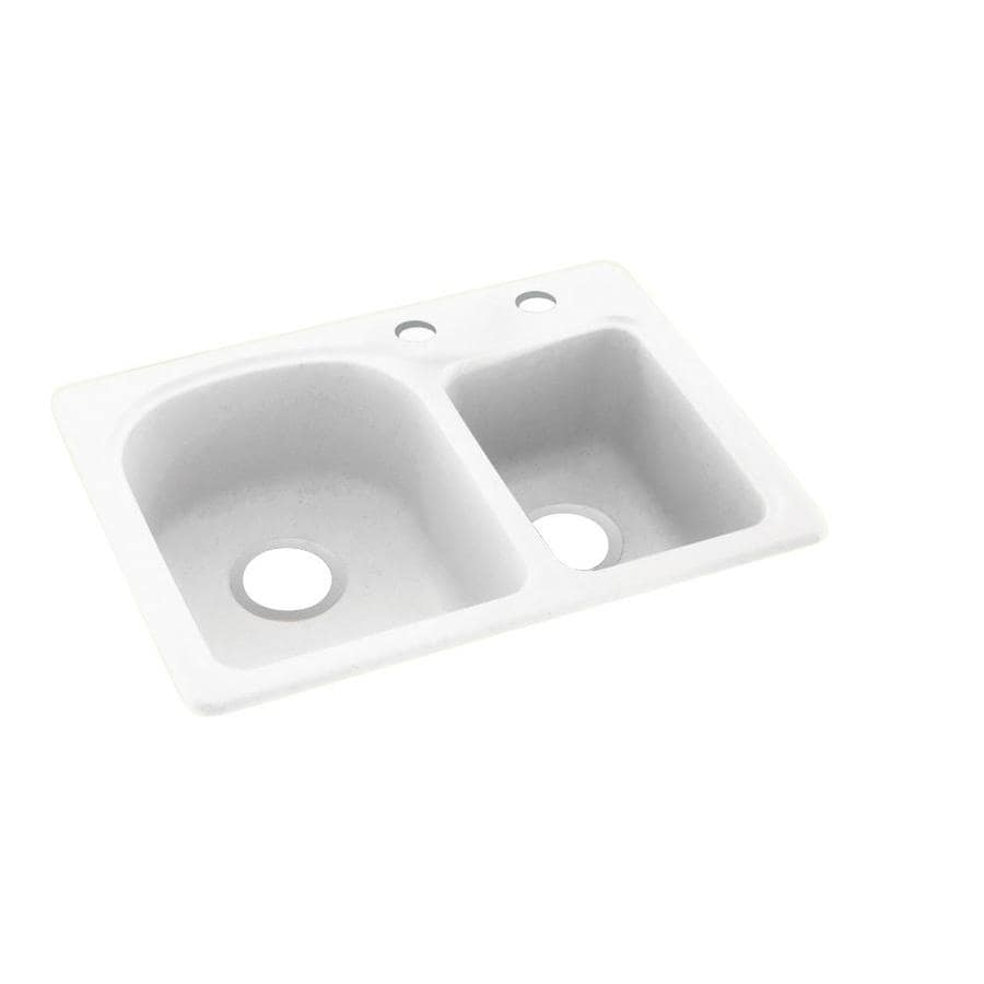 Swanstone 25-in x 18-in Tahiti White Double-Basin Composite Drop-In 2-Hole Residential Kitchen Sink