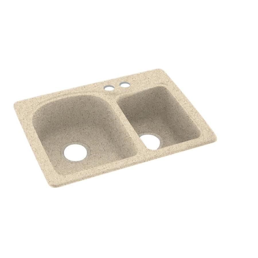 Swanstone 18-in x 25-in Bermuda Sand Double-Basin Composite Drop-in 2-Hole Residential Kitchen Sink