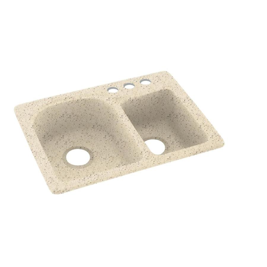 Swanstone 18-in x 25-in Tahiti Desert Double-Basin Composite Drop-in 3-Hole Residential Kitchen Sink