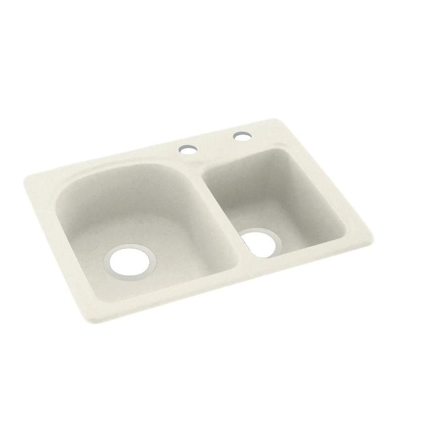 Swanstone 18-in x 25-in Glacier Double-Basin Composite Drop-in 2-Hole Residential Kitchen Sink