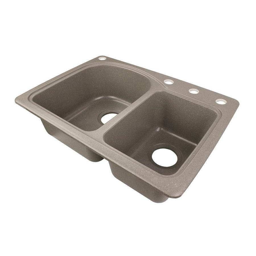 Swanstone 18-in x 25-in Canyon Double-Basin Composite Drop-in 4-Hole Residential Kitchen Sink