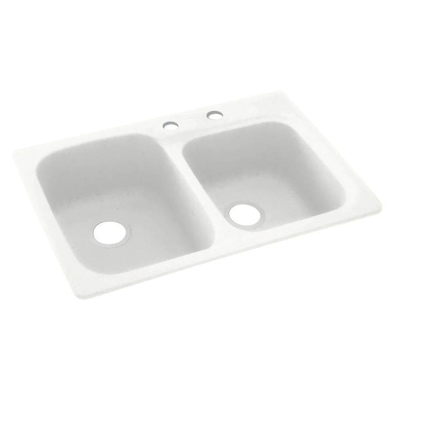 Swanstone 33-in x 22-in Tahiti White Single-Basin-Basin Composite Drop-in 2-Hole Residential Kitchen Sink
