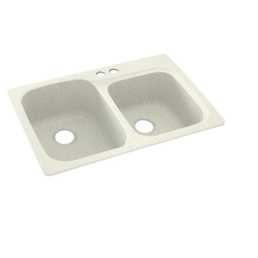 Swanstone 33-in x 22-in Bisque Double-Basin Composite Drop-In 2-Hole Residential Kitchen Sink