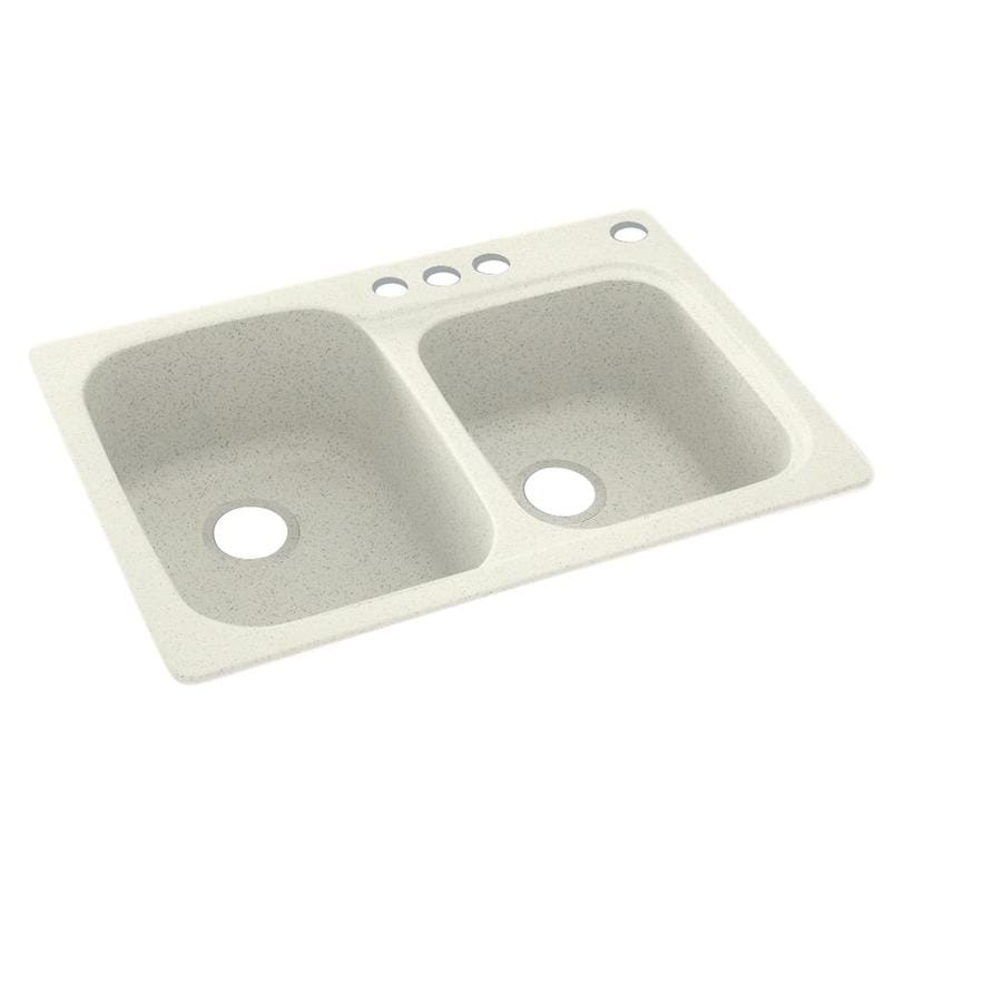Swanstone 33-in x 22-in Bisque Double-Basin Composite Drop-In 4-Hole Residential Kitchen Sink