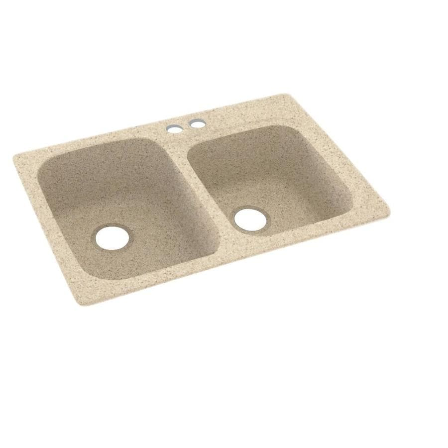 Swanstone 33.0000-in x 22.0000-in Bermuda Sand Double-Basin Composite Drop-in 2-Hole Residential Kitchen Sink