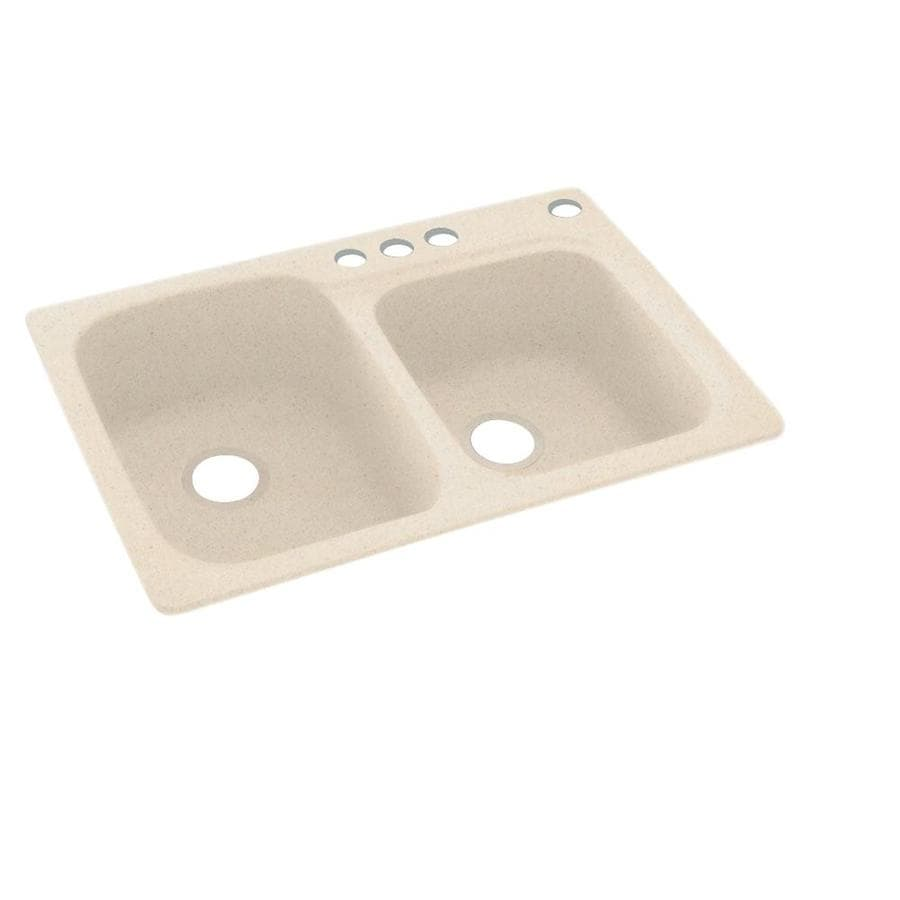 Swanstone 33-in x 22-in Tahiti Sand Double-Basin Composite Drop-in 4-Hole Residential Kitchen Sink