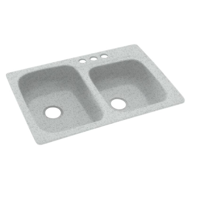 Swanstone 33.0000-in x 22.0000-in Tahiti Gray Double-Basin Composite Drop-in 3-Hole Residential Kitchen Sink