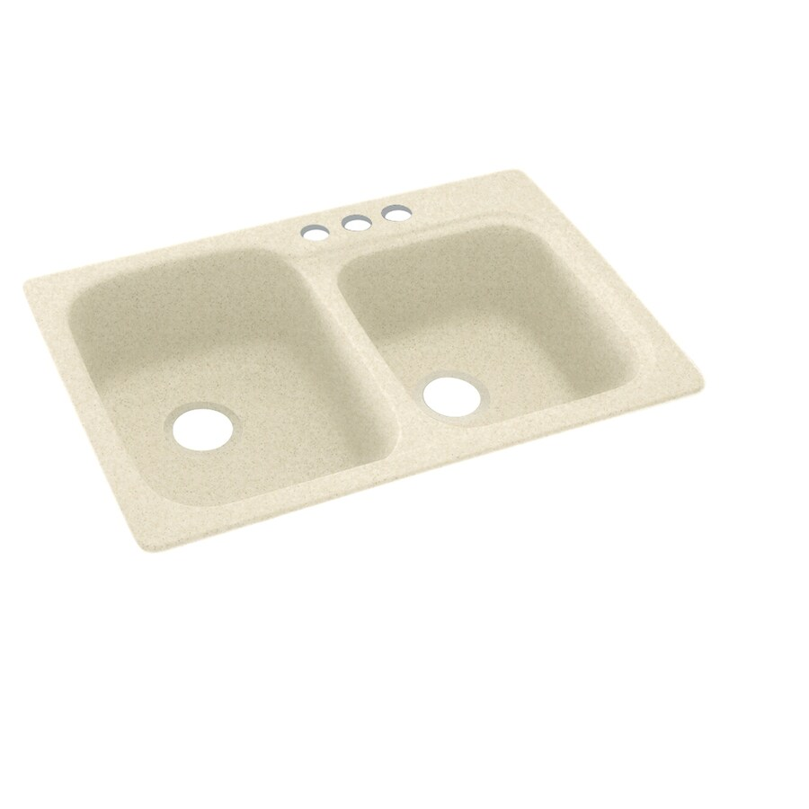Swanstone 33.0000-in x 22.0000-in Cornflower Double-Basin Composite Drop-in 3-Hole Residential Kitchen Sink