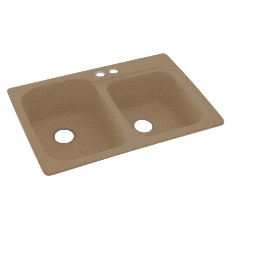 Swanstone 33.0000-in x 22.0000-in Barley Double-Basin Composite Drop-in 2-Hole Residential Kitchen Sink
