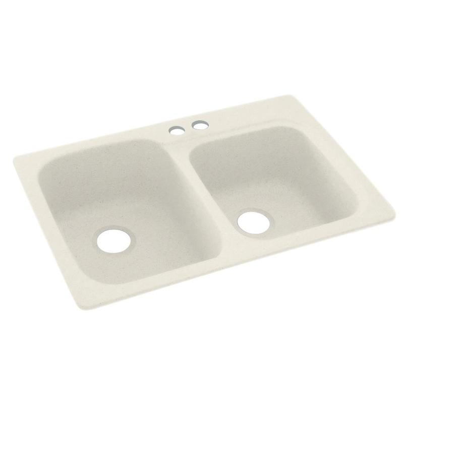 Swanstone 33-in x 22-in Glacier Double-Basin Composite Drop-In 2-Hole Residential Kitchen Sink