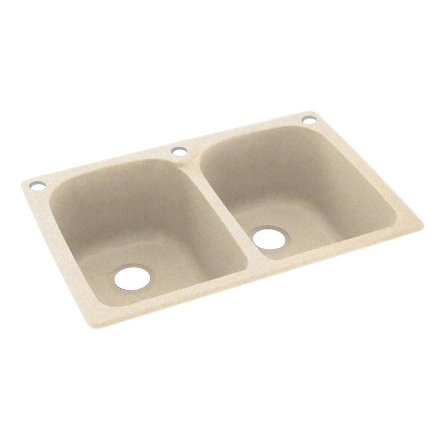 Swanstone 33-in x 22-in Tahiti Sand Double-Basin Composite Drop-In 3-Hole Residential Kitchen Sink