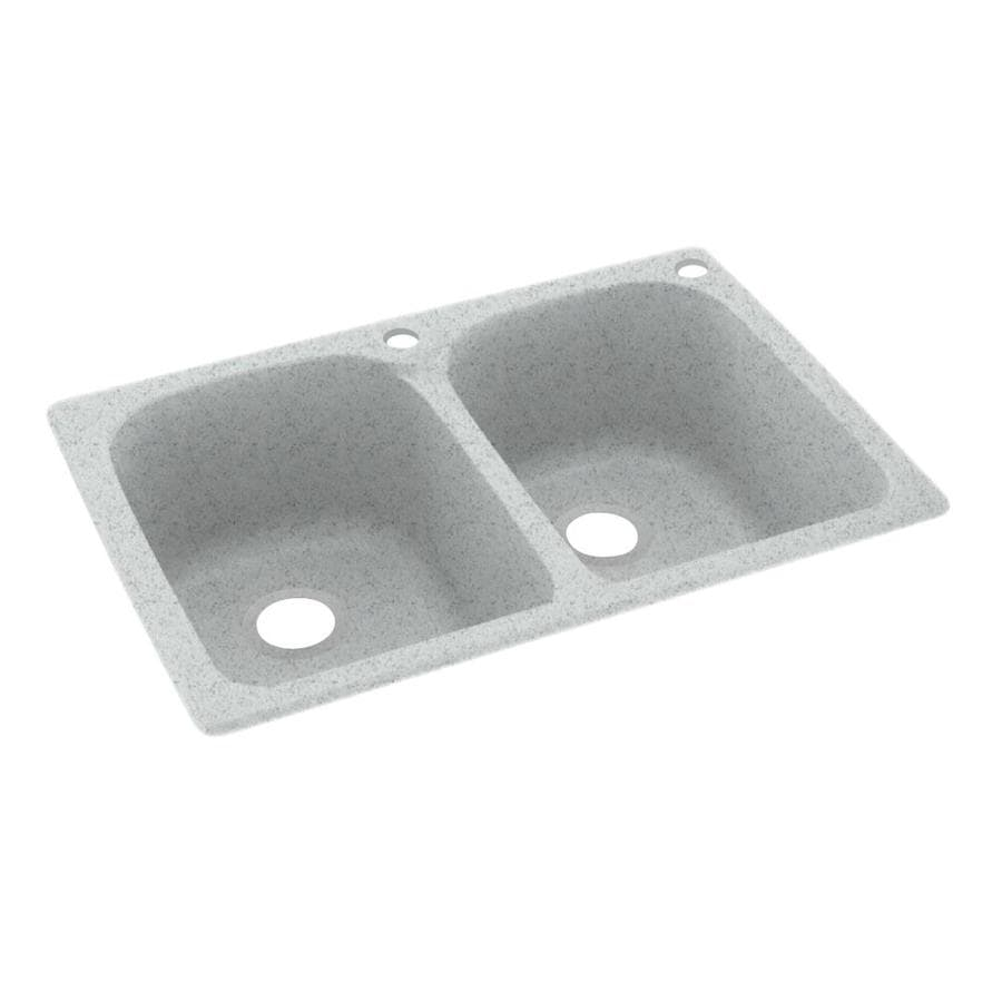 Swanstone 33.0000-in x 22.0000-in Tahiti Gray Double-Basin Composite Drop-in 2-Hole Residential Kitchen Sink
