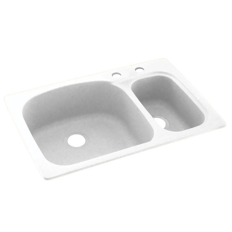 Swanstone 33-in x 22-in White Double-Basin Composite Drop-in 2-Hole Residential Kitchen Sink