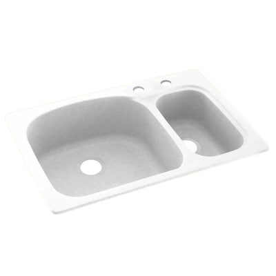 33-in x 22-in White Double-Basin Drop-In 2-Hole Residential Kitchen Sink