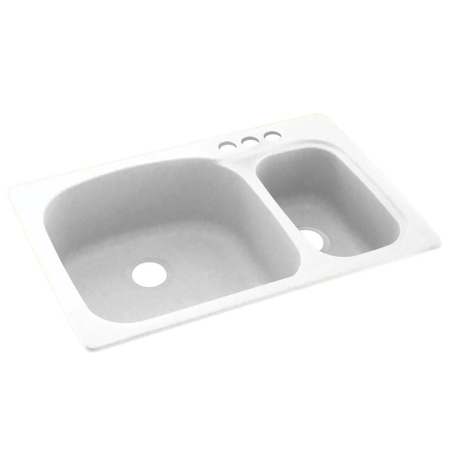 Swanstone 33-in x 22-in White Double-Basin Composite Drop-In 3-Hole Residential Kitchen Sink