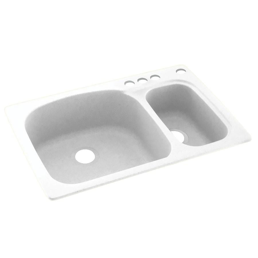Swanstone 33-in x 22-in White Double-Basin Composite Drop-In 4-Hole Residential Kitchen Sink