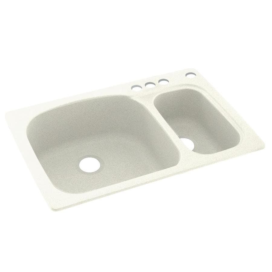 Swanstone 33.0000-in x 22.0000-in Bisque Double-Basin Composite Drop-in 4-Hole Residential Kitchen Sink
