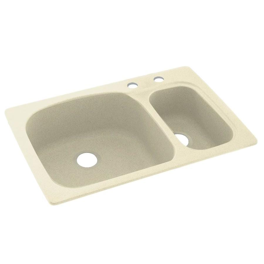 Swanstone 33.0000-in x 22.0000-in Bone Double-Basin Composite Drop-in 2-Hole Residential Kitchen Sink