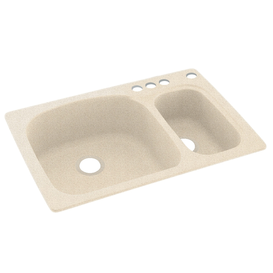 Swanstone 33.0000-in x 22.0000-in Almond Galaxy Double-Basin Composite Drop-in 4-Hole Residential Kitchen Sink
