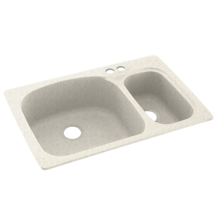 Swanstone 33.0000-in x 22.0000-in Tahiti Matrix Double-Basin Composite Drop-in 2-Hole Residential Kitchen Sink