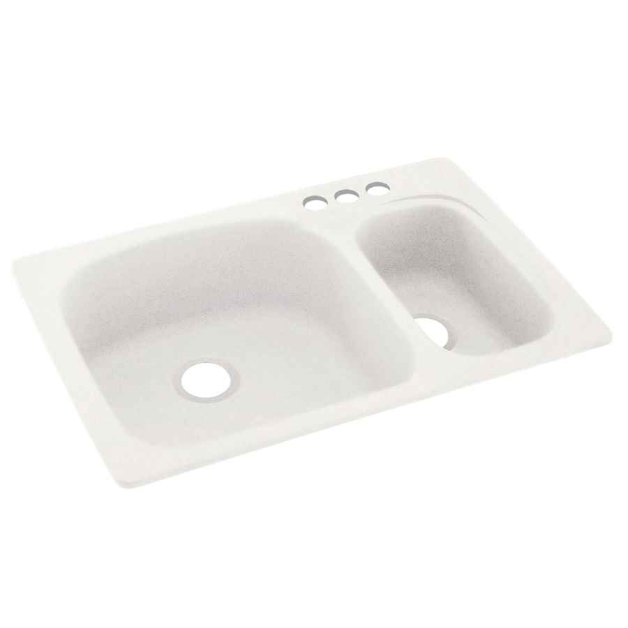 Swanstone 33-in x 22-in Tahiti Ivory Double-Basin Composite Drop-in 3-Hole Residential Kitchen Sink
