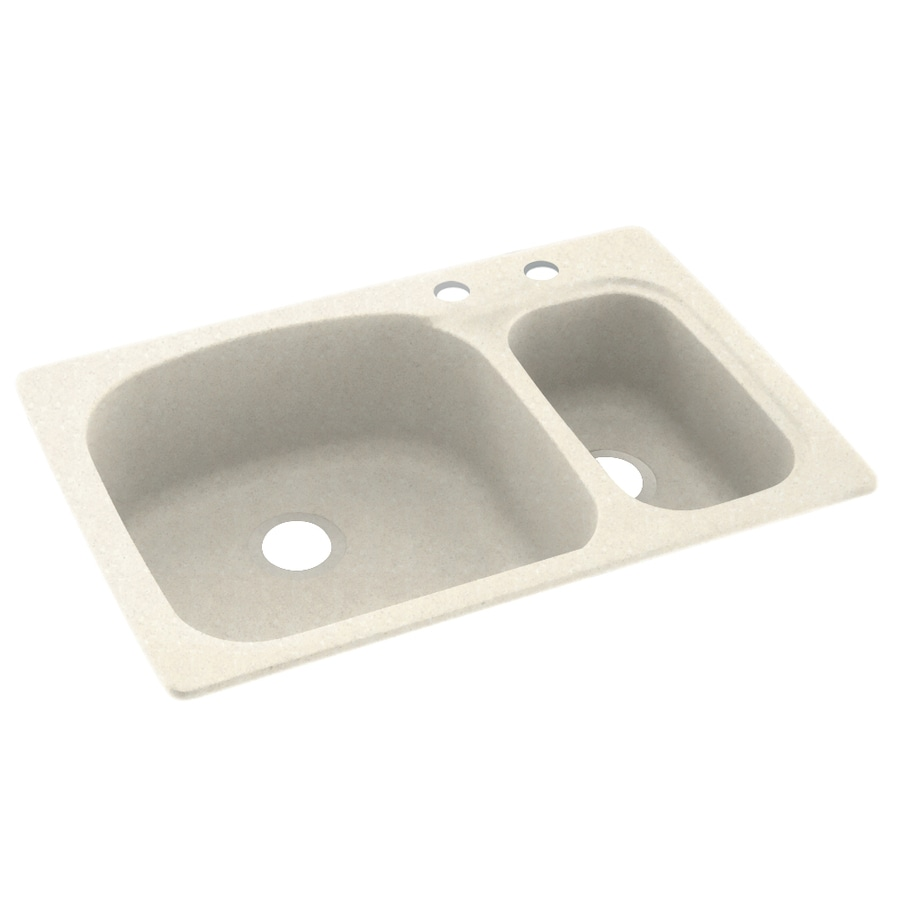 Swanstone 33-in x 22-in Pebble Double-Basin Composite Drop-In 2-Hole Residential Kitchen Sink