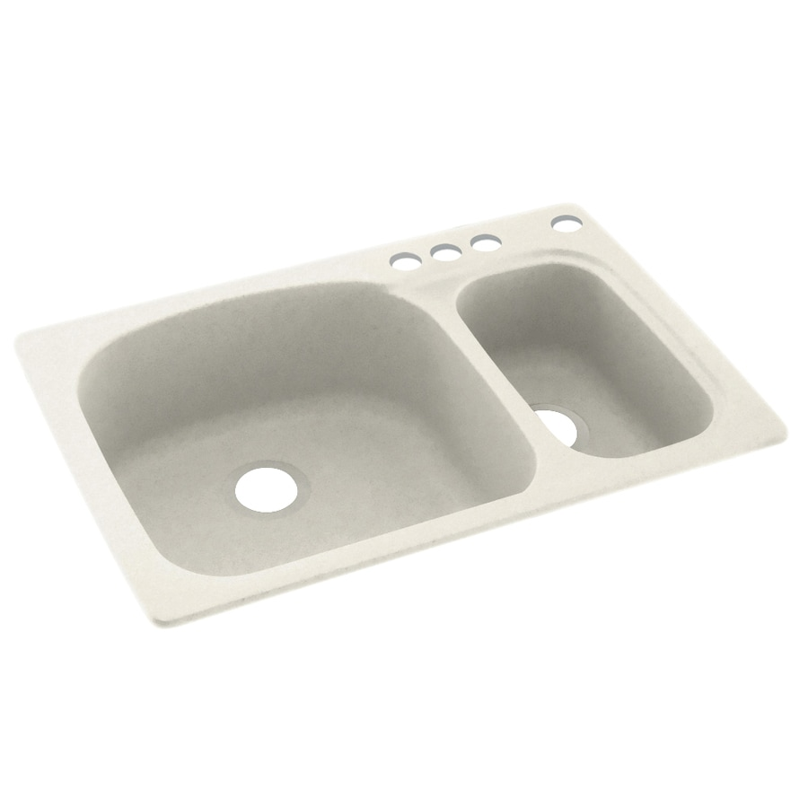 Swanstone 33-in x 22-in Glacier Double-Basin Composite Drop-In 4-Hole Residential Kitchen Sink