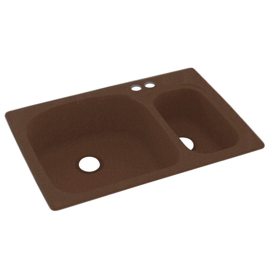 Swanstone 33-in x 22-in Acorn Double-Basin Composite Drop-in 2-Hole Residential Kitchen Sink