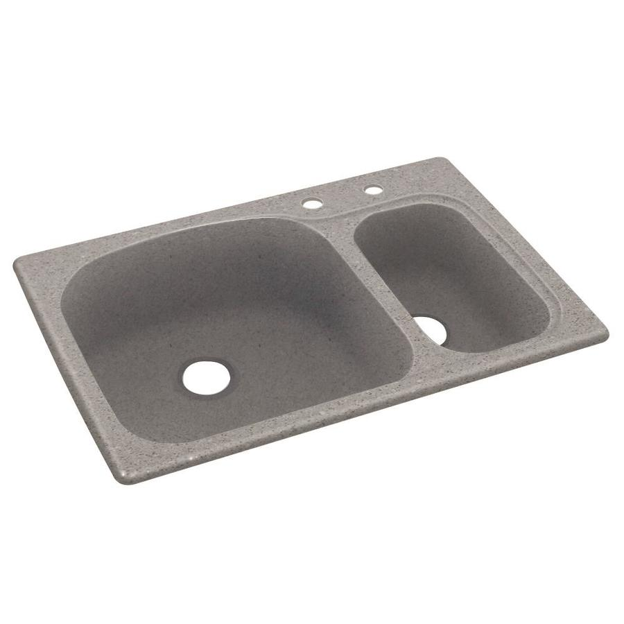 Swanstone 33.0000-in x 22.0000-in Canyon Double-Basin Composite Drop-in 2-Hole Residential Kitchen Sink