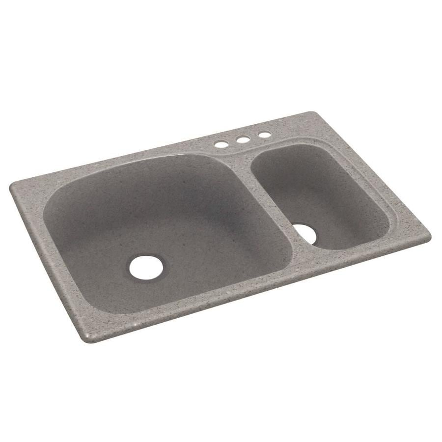 Swanstone 33-in x 22-in Canyon Double-Basin Composite Drop-in 3-Hole Residential Kitchen Sink