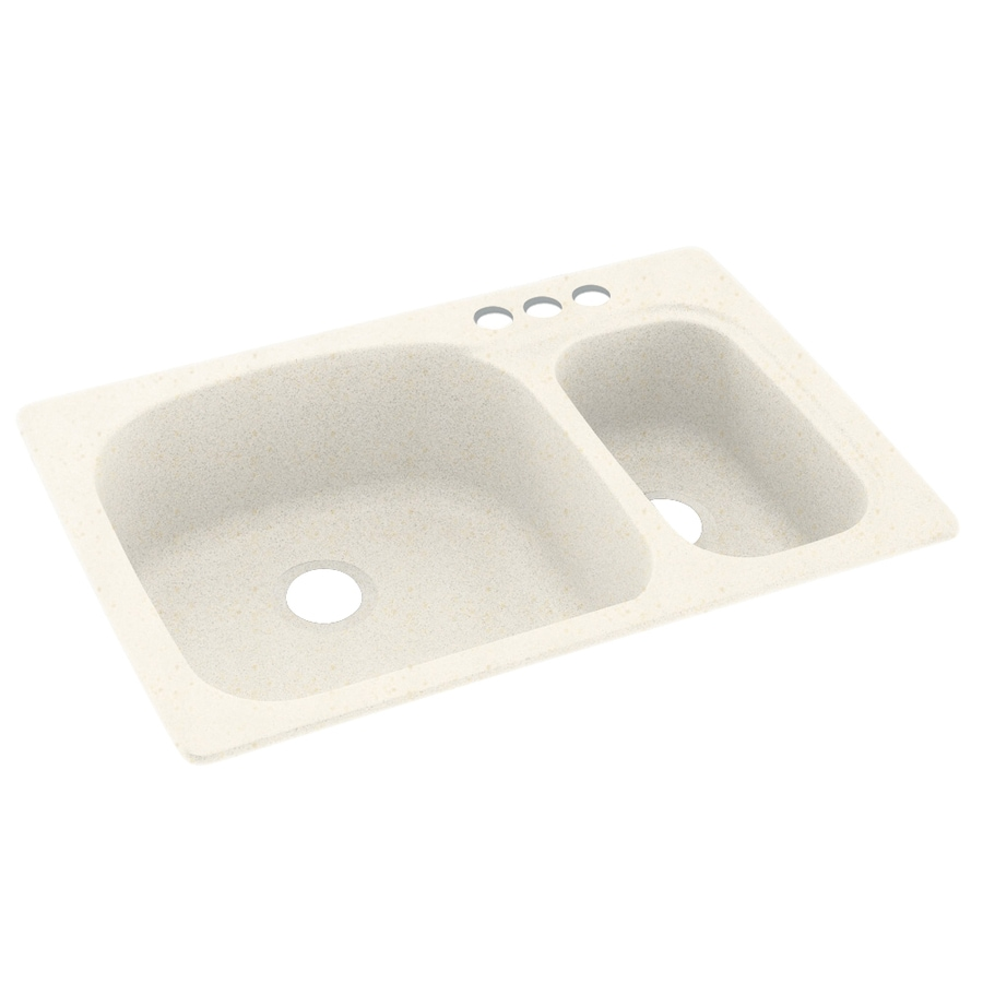 Swanstone 33-in x 22-in Baby's Breath Double-Basin Composite Drop-In 3-Hole Residential Kitchen Sink