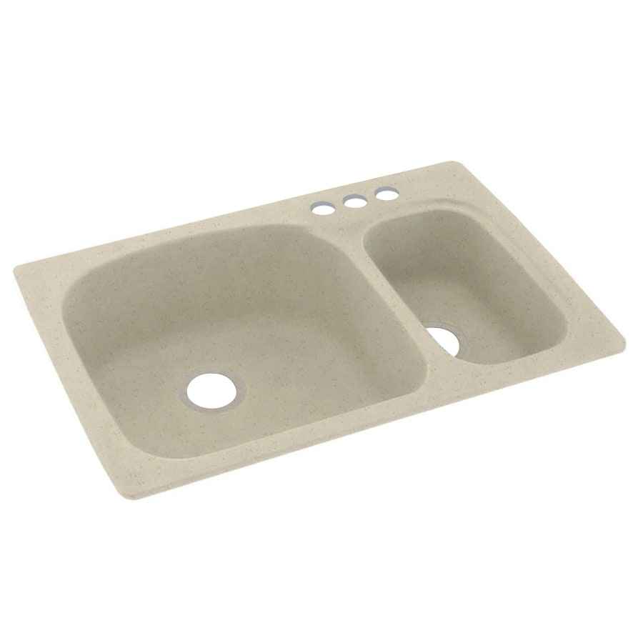 Swanstone 33-in x 22-in Caraway Seed Double-Basin Composite Drop-In 3-Hole Residential Kitchen Sink