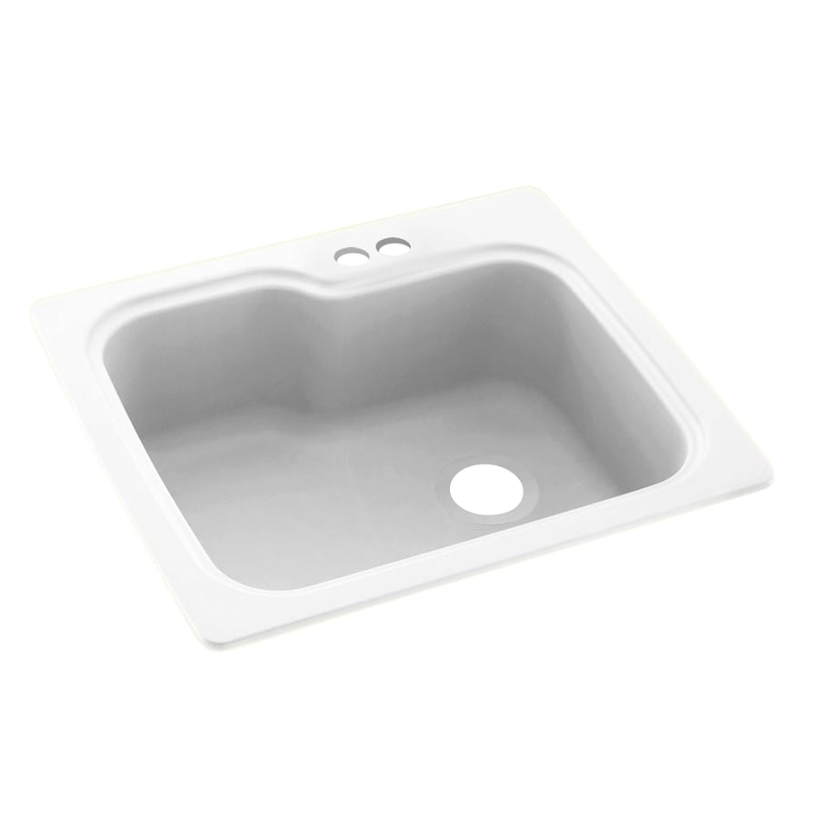 Swanstone 25-in x 22-in White Single-Basin Composite Drop-in 2-Hole Residential Kitchen Sink
