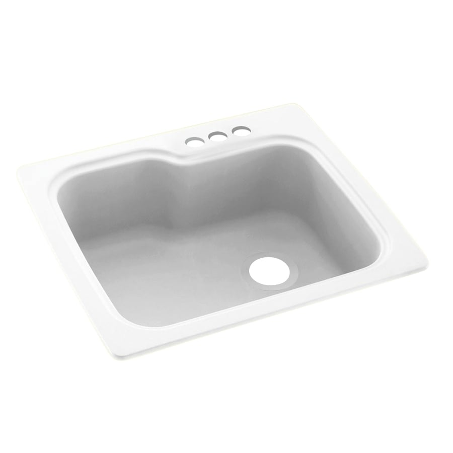 Swanstone 25-in x 22-in White Single-Basin-Basin Composite Drop-in 3-Hole Residential Kitchen Sink