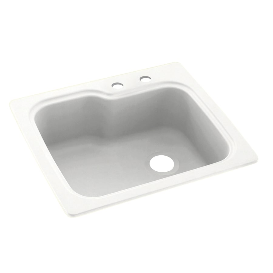 Swanstone 25-in x 22-in Tahiti White Single-Basin Composite Drop-in 2-Hole Residential Kitchen Sink
