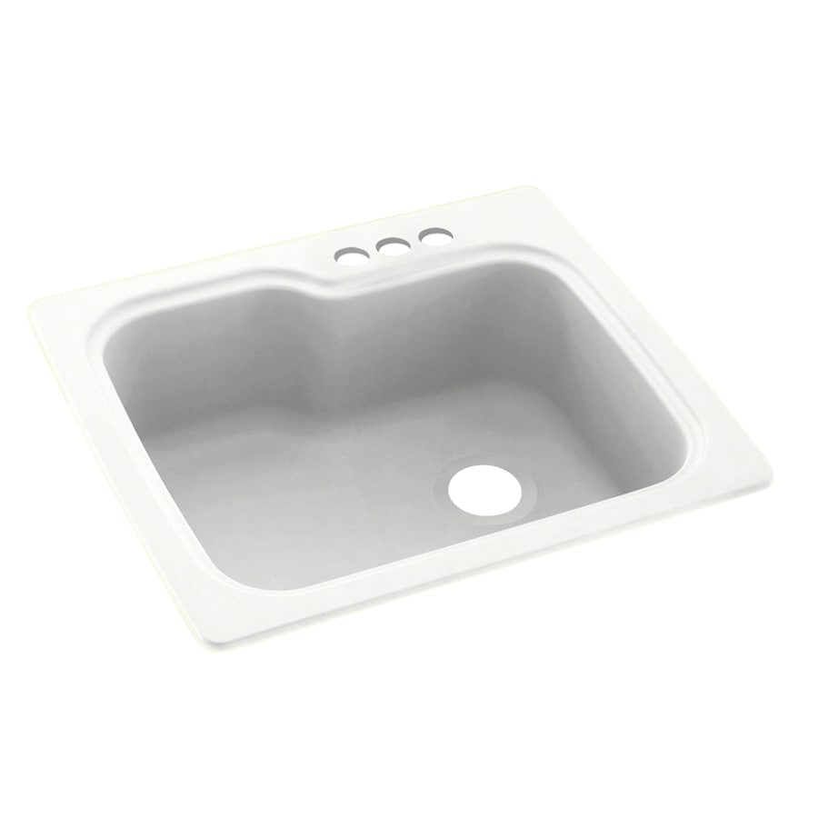 Swanstone 25-in x 22-in Tahiti White Single-Basin Composite Drop-in 3-Hole Residential Kitchen Sink