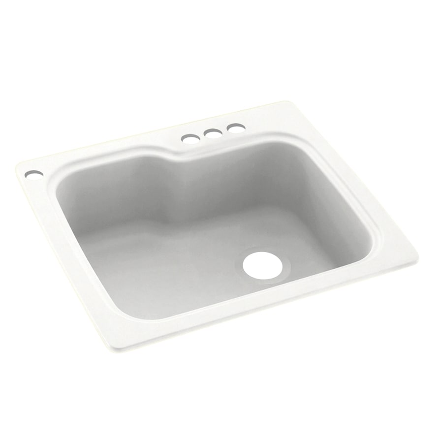 Swanstone 25-in x 22-in Tahiti White Single-Basin Composite Drop-In 4-Hole Residential Kitchen Sink