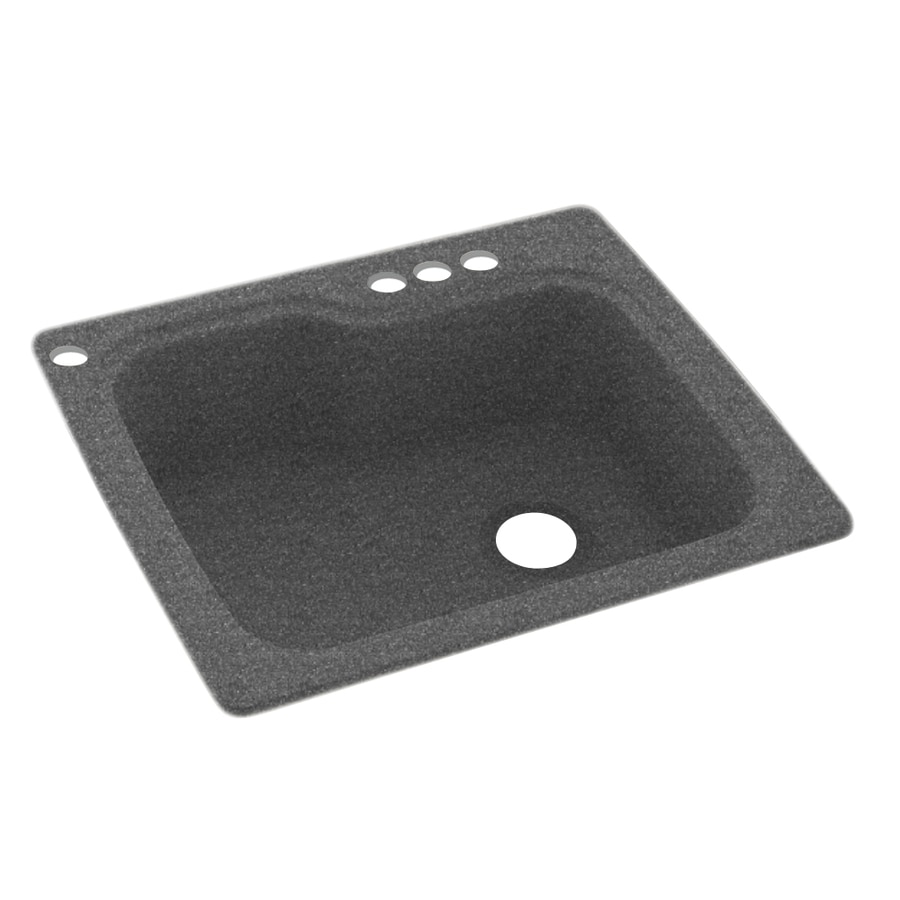 Swanstone 25-in x 22-in Night Sky Single-Basin Composite Drop-In 4-Hole Residential Kitchen Sink