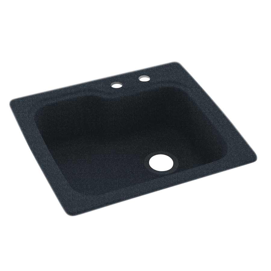 Swanstone 25.0000-in x 22.0000-in Black Galaxy Single-Basin Composite Drop-in 2-Hole Residential Kitchen Sink