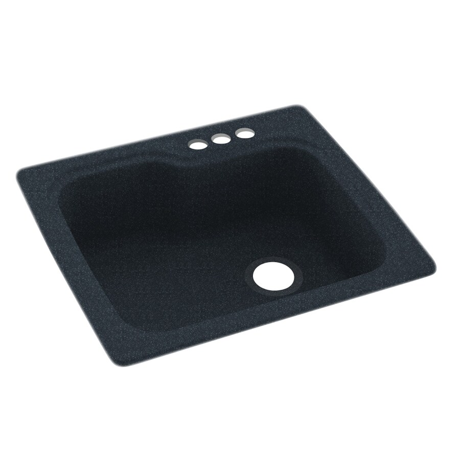 Swanstone 25-in x 22-in Black Galaxy Single-Basin Composite Drop-In 3-Hole Residential Kitchen Sink