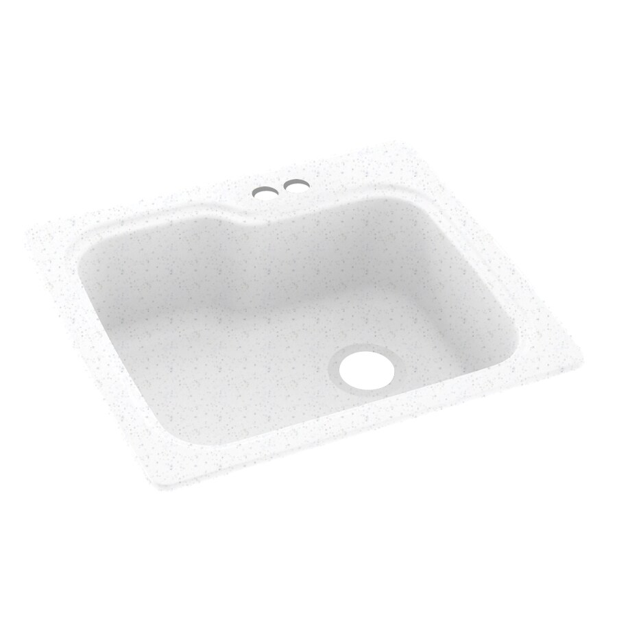 Swanstone 25-in x 22-in Arctic Granite Single-Basin Composite Drop-in 2-Hole Residential Kitchen Sink